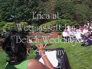 Erica sings at a beach wedding ceremony Wequassett Inn.
